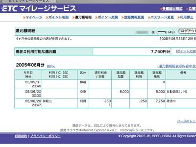 ETCマイレージサービスのマイページの図。
